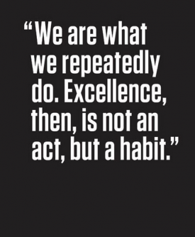 we are what we repeatedly do. ecellent then is not a an act but a habit. aristotle quote