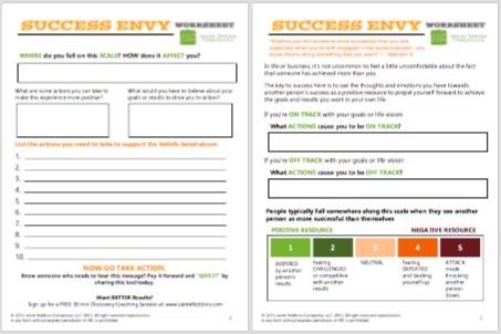 success envy coaching worksheet